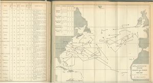 Pilot chart showing the path of derelicts in the North Atlantic.