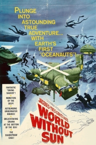 Poster for Cousteau's 1964 movie Le Monde Sans Soleil.